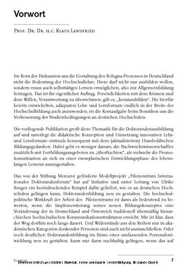 Pilotzentrum Internationales Doktorandenforum - Blick ins Buch