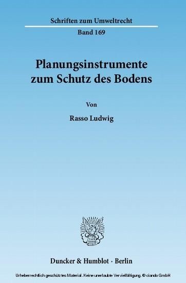 Planungsinstrumente zum Schutz des Bodens. - Blick ins Buch