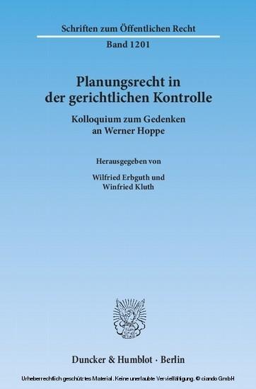Planungsrecht in der gerichtlichen Kontrolle. - Blick ins Buch