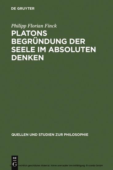 Platons Begründung der Seele im absoluten Denken - Blick ins Buch