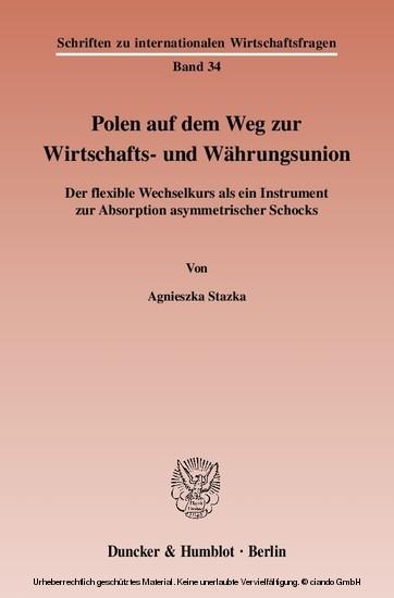 Polen auf dem Weg zur Wirtschafts- und Währungsunion. - Blick ins Buch