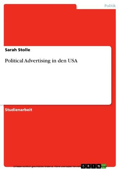 Political Advertising in den USA - Blick ins Buch
