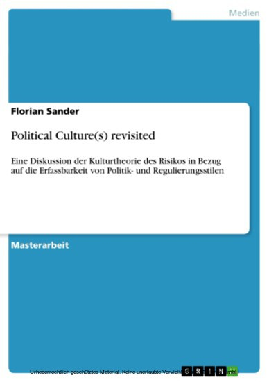 Political Culture(s) revisited - Blick ins Buch