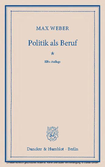 Politik als Beruf. - Blick ins Buch