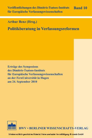 Politikberatung in Verfassungsreformen - Blick ins Buch