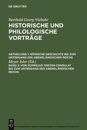 Von Pompejus' ersten Consulat bis zum Untergang des abendländischen Reichs - Blick ins Buch