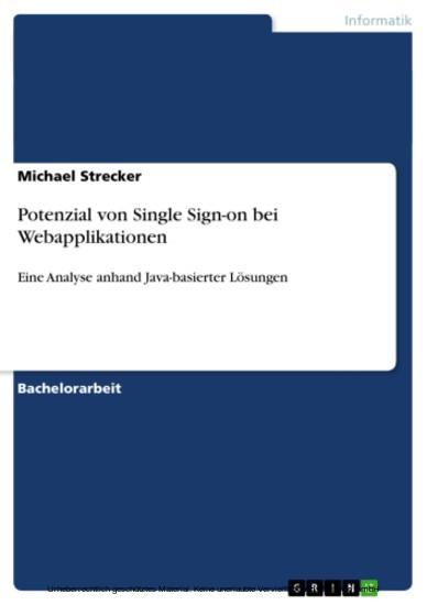 Potenzial von Single Sign-on bei Webapplikationen - Blick ins Buch