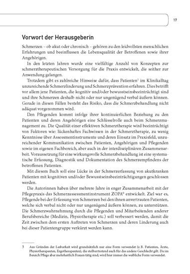 Praxishandbuch ZOPA©. Schmerzeinschätzung bei Patienten mit kognitiven und/oder Bewusstseinsbeeinträchtigungen - Blick ins Buch