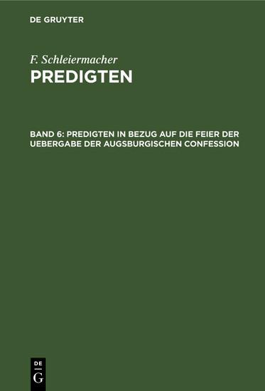 Predigten in Bezug auf die Feier der Uebergabe der Augsburgischen Confession - Blick ins Buch