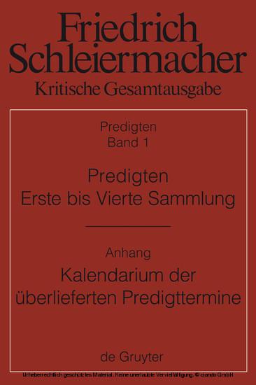 Predigten. Erste bis Vierte Sammlung (1801-1820) mit den Varianten der Neuauflagen (1806-1826) - Blick ins Buch