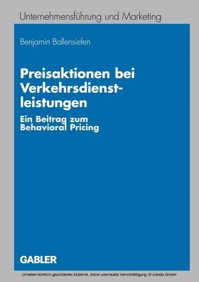 Preisaktionen bei Verkehrsdienstleistungen - Blick ins Buch
