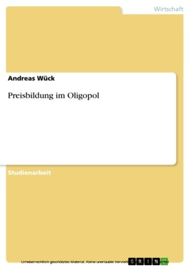 Preisbildung im Oligopol - Blick ins Buch