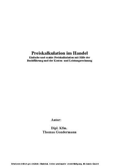 Preiskalkulation im Handel - Blick ins Buch