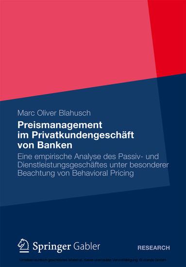 Preismanagement im Privatkundengeschäft von Banken - Blick ins Buch