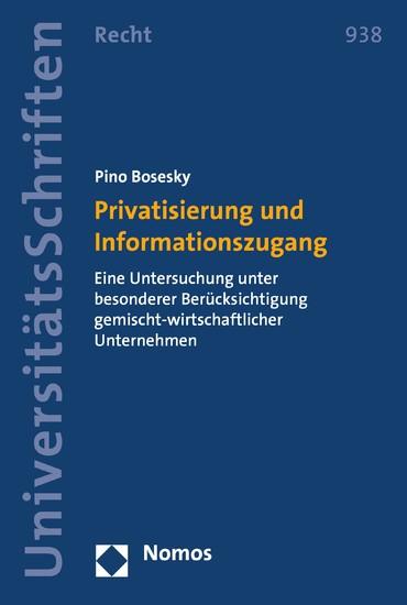 Privatisierung und Informationszugang - Blick ins Buch