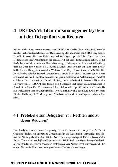 Privatsphäre durch die Delegation von Rechten - Blick ins Buch