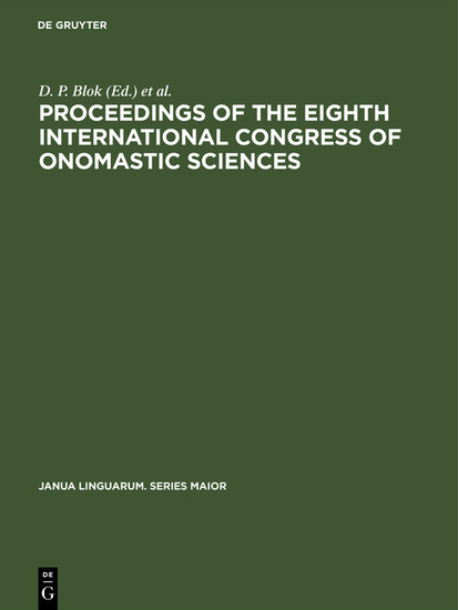 Proceedings of the Eighth International Congress of Onomastic Sciences - Blick ins Buch