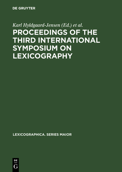 Proceedings of the Third International Symposium on Lexicography - Blick ins Buch