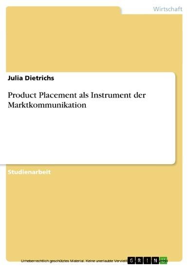 Product Placement als Instrument der Marktkommunikation - Blick ins Buch