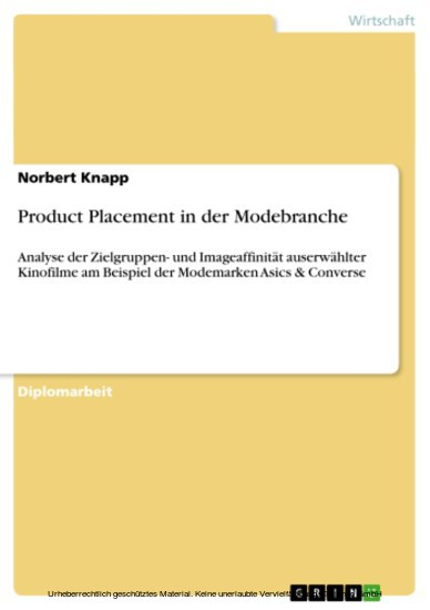 Product Placement in der Modebranche - Blick ins Buch