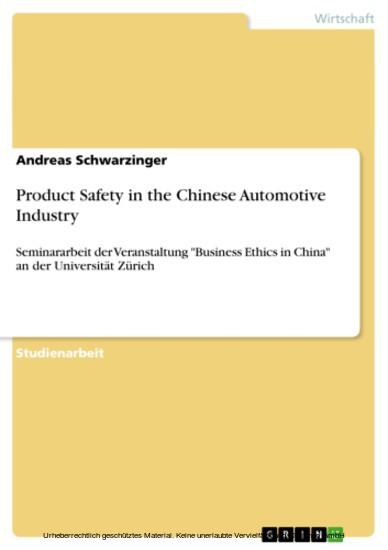 Product Safety in the Chinese Automotive Industry - Blick ins Buch