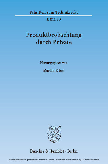 Produktbeobachtung durch Private. - Blick ins Buch