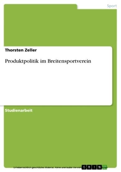 Produktpolitik im Breitensportverein - Blick ins Buch