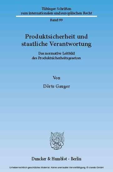Produktsicherheit und staatliche Verantwortung. - Blick ins Buch