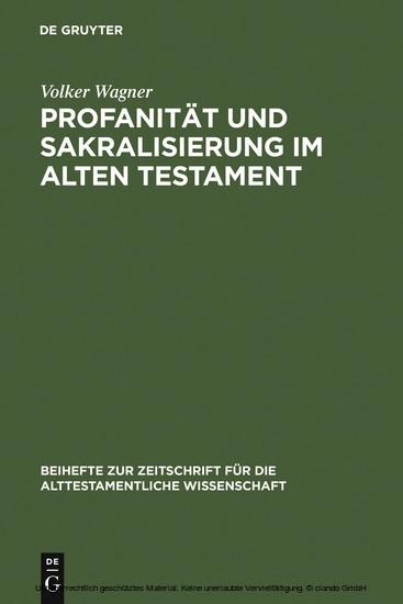 Profanität und Sakralisierung im Alten Testament - Blick ins Buch