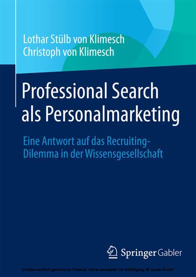 Professional Search als Personalmarketing - Blick ins Buch
