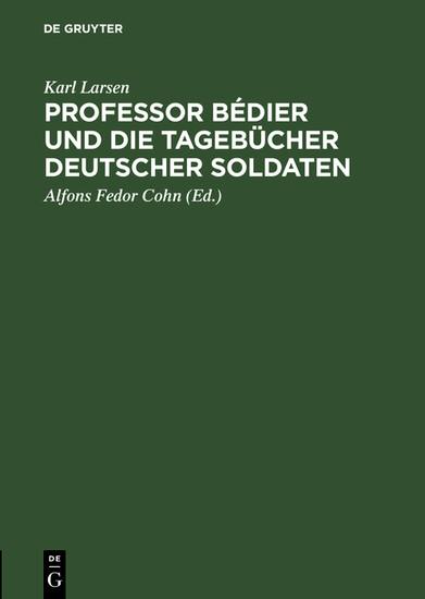 Professor Bédier und die Tagebücher deutscher Soldaten - Blick ins Buch