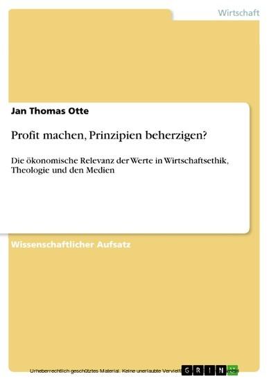 Profit machen, Prinzipien beherzigen? - Blick ins Buch