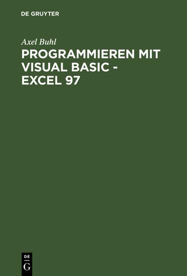 Programmieren mit Visual Basic - Excel 97 - Blick ins Buch