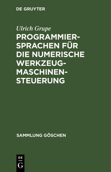 Programmiersprachen für die numerische Werkzeugmaschinensteuerung - Blick ins Buch