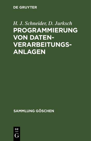 Programmierung von Datenverarbeitungsanlagen - Blick ins Buch