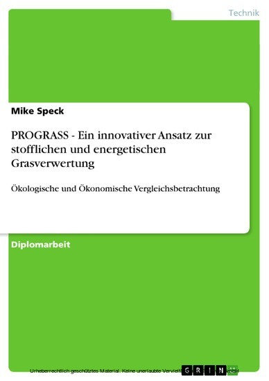 PROGRASS - Ein innovativer Ansatz zur stofflichen und energetischen Grasverwertung - Blick ins Buch