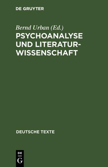 Psychoanalyse und Literaturwissenschaft - Blick ins Buch