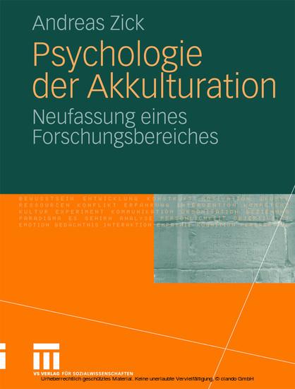 Psychologie der Akkulturation - Blick ins Buch