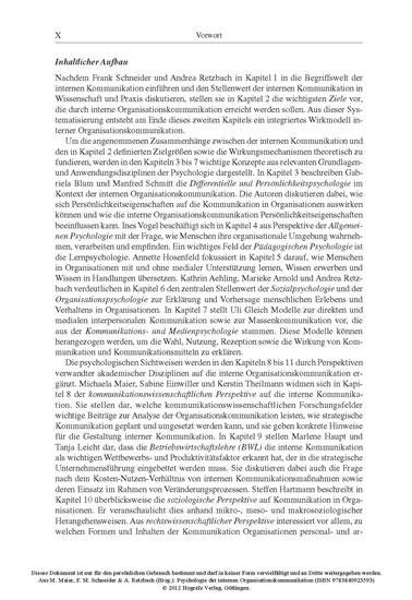 Psychologie der internen Organisationskommunikation - Blick ins Buch