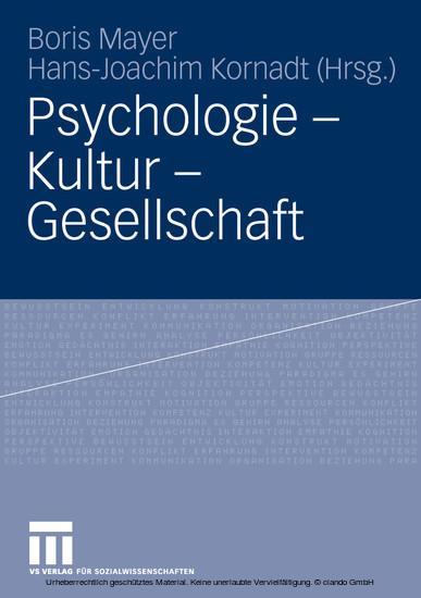 Psychologie - Kultur - Gesellschaft - Blick ins Buch