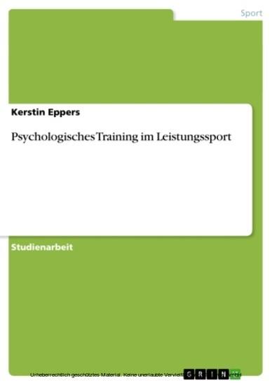 Psychologisches Training im Leistungssport - Blick ins Buch