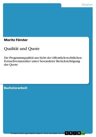 Qualität und Quote - Blick ins Buch