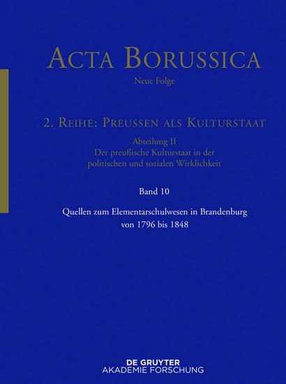 Quellen zum Elementarschulwesen in Brandenburg von 1796 bis 1848 - Blick ins Buch