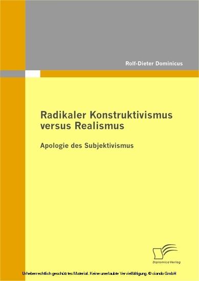Radikaler Konstruktivismus versus Realismus - Blick ins Buch