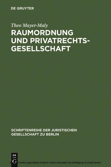 Raumordnung und Privatrechtsgesellschaft - Blick ins Buch