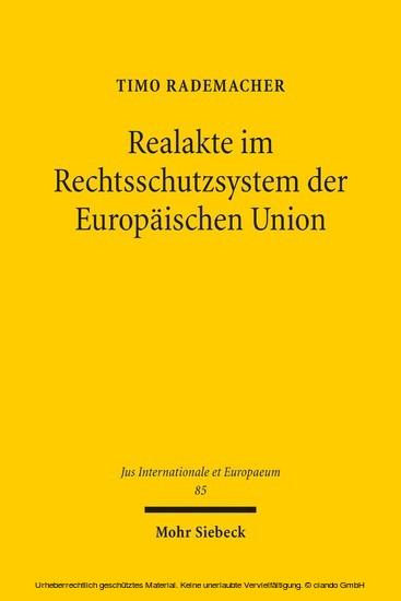 Realakte im Rechtsschutzsystem der Europäischen Union - Blick ins Buch