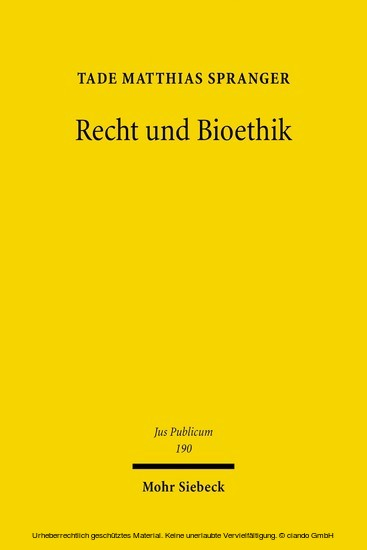 Recht und Bioethik - Blick ins Buch