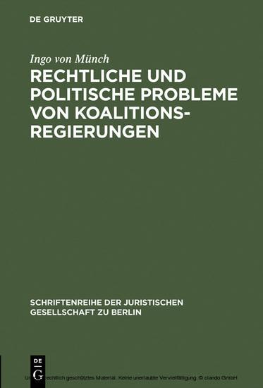 Rechtliche und politische Probleme von Koalitionsregierungen - Blick ins Buch