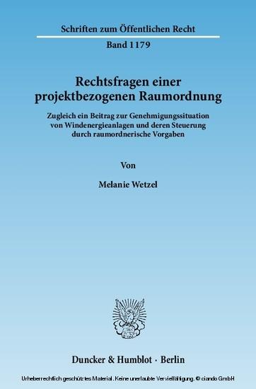 Rechtsfragen einer projektbezogenen Raumordnung. - Blick ins Buch