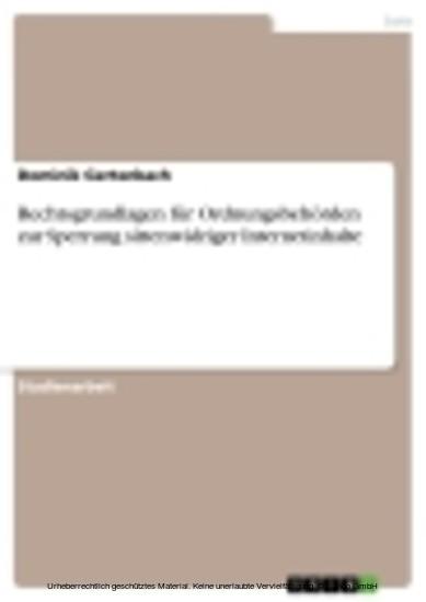 Rechtsgrundlagen für Ordnungsbehörden zur Sperrung sittenwidriger Internetinhalte - Blick ins Buch